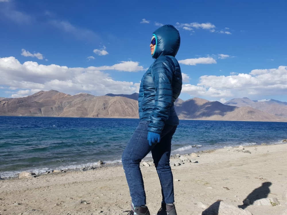 Gazing at the vantage (read: posing), Pangong Lake, Ladakh